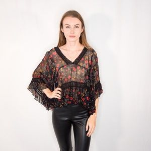 FREE PEOPLE Sheer Embroidered Ruffle Sleeve Blouse